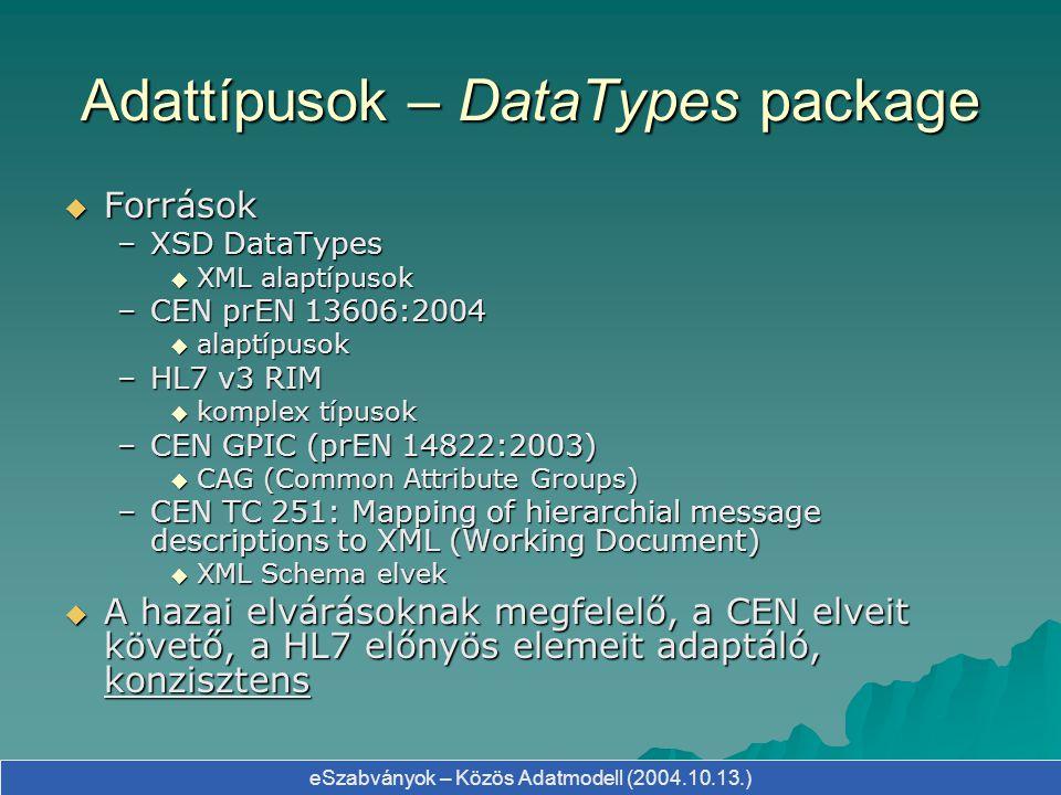 Adattípusok – DataTypes package