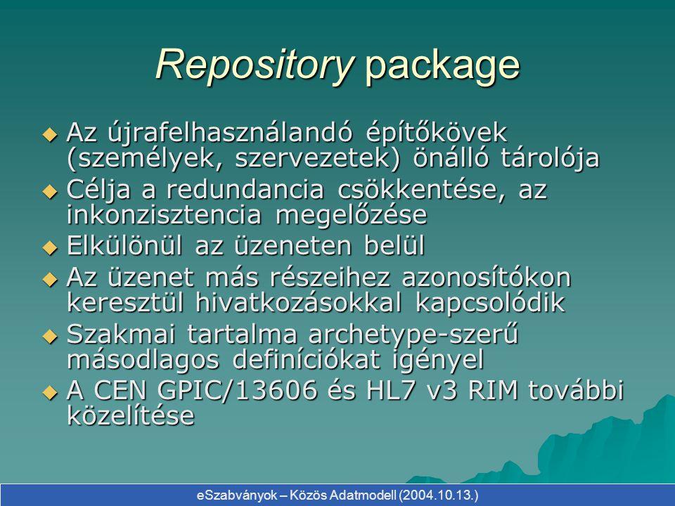 Repository package Az újrafelhasználandó építőkövek (személyek, szervezetek) önálló tárolója.