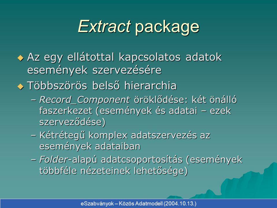 Extract package Az egy ellátottal kapcsolatos adatok események szervezésére. Többszörös belső hierarchia.