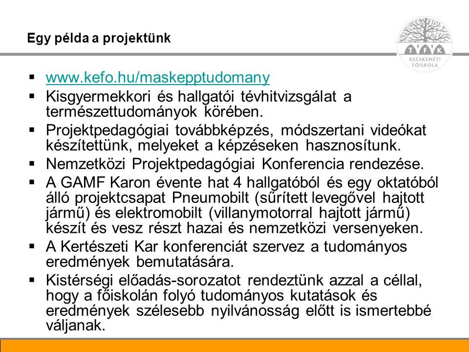 Nemzetközi Projektpedagógiai Konferencia rendezése.