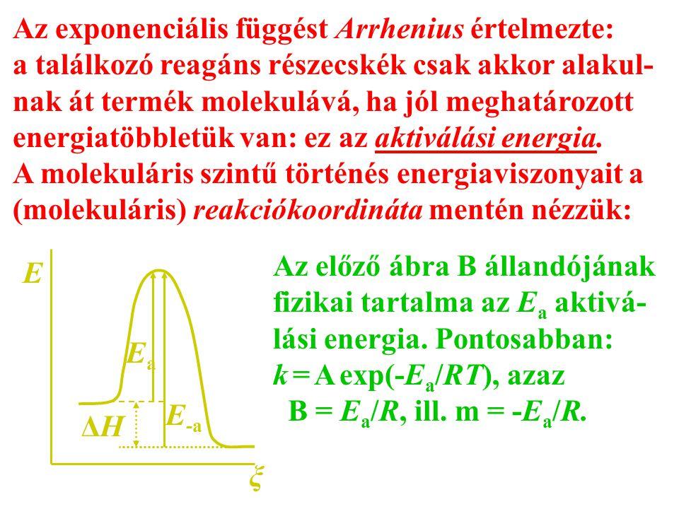 Az exponenciális függést Arrhenius értelmezte: