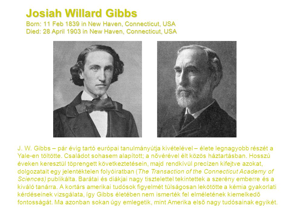 Josiah Willard Gibbs Born: 11 Feb 1839 in New Haven, Connecticut, USA Died: 28 April 1903 in New Haven, Connecticut, USA
