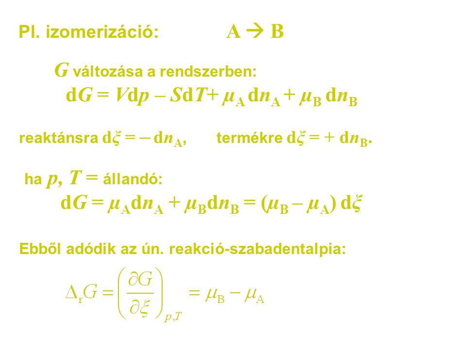 dG = Vdp – SdT+ µA dnA + µB dnB