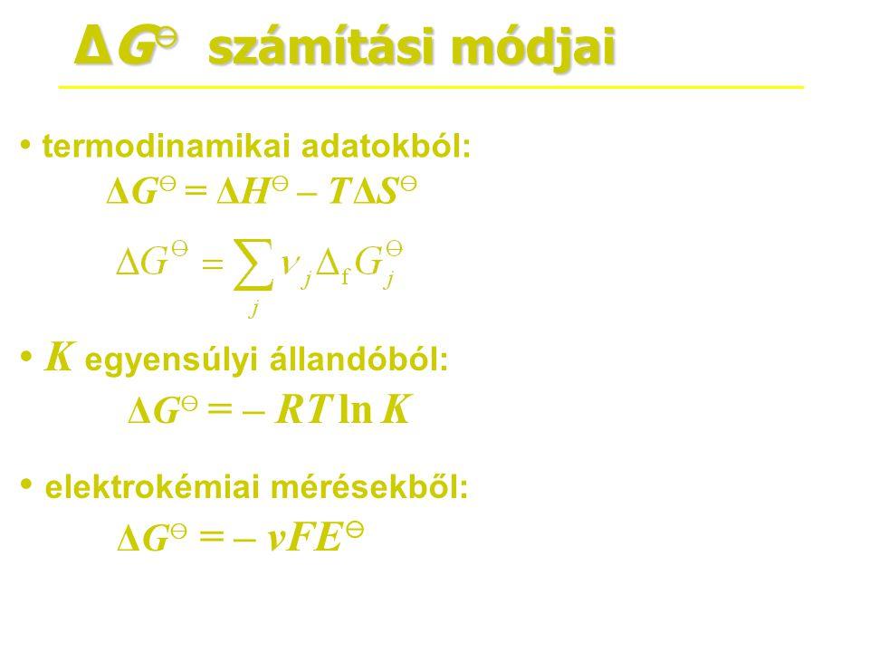 ΔG⊖ számítási módjai K egyensúlyi állandóból: ΔG⊖ = – RT ln K