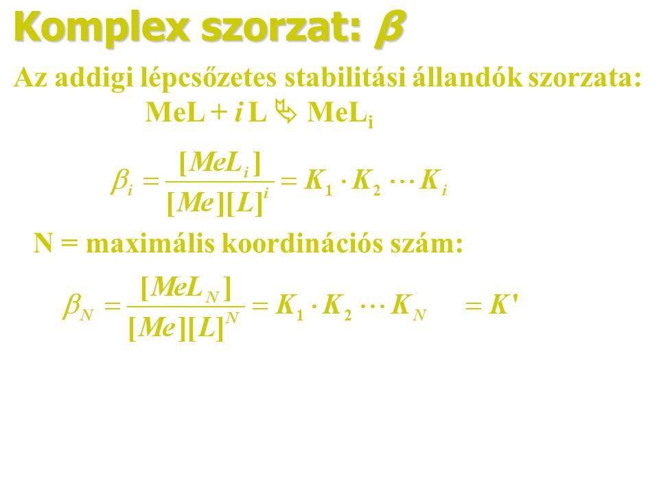 Komplex szorzat: β Az addigi lépcsőzetes stabilitási állandók szorzata: MeL + i L  MeLi.