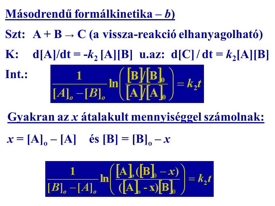 Másodrendű formálkinetika – b)