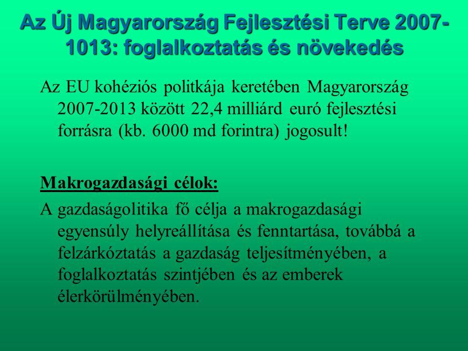 Az Új Magyarország Fejlesztési Terve 2007-1013: foglalkoztatás és növekedés