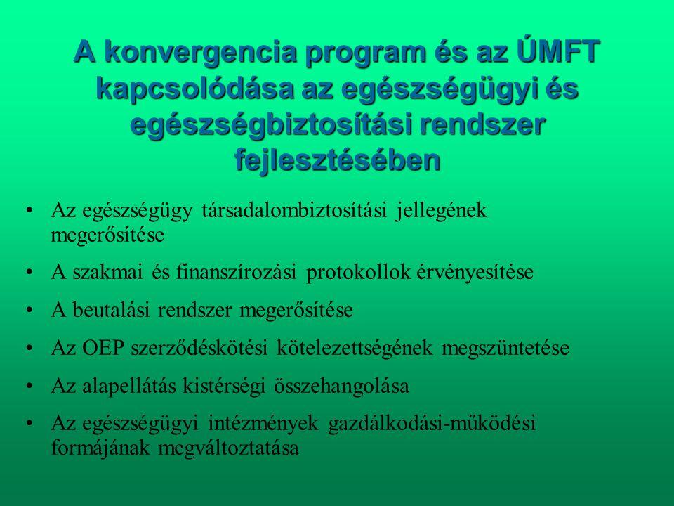 A konvergencia program és az ÚMFT kapcsolódása az egészségügyi és egészségbiztosítási rendszer fejlesztésében