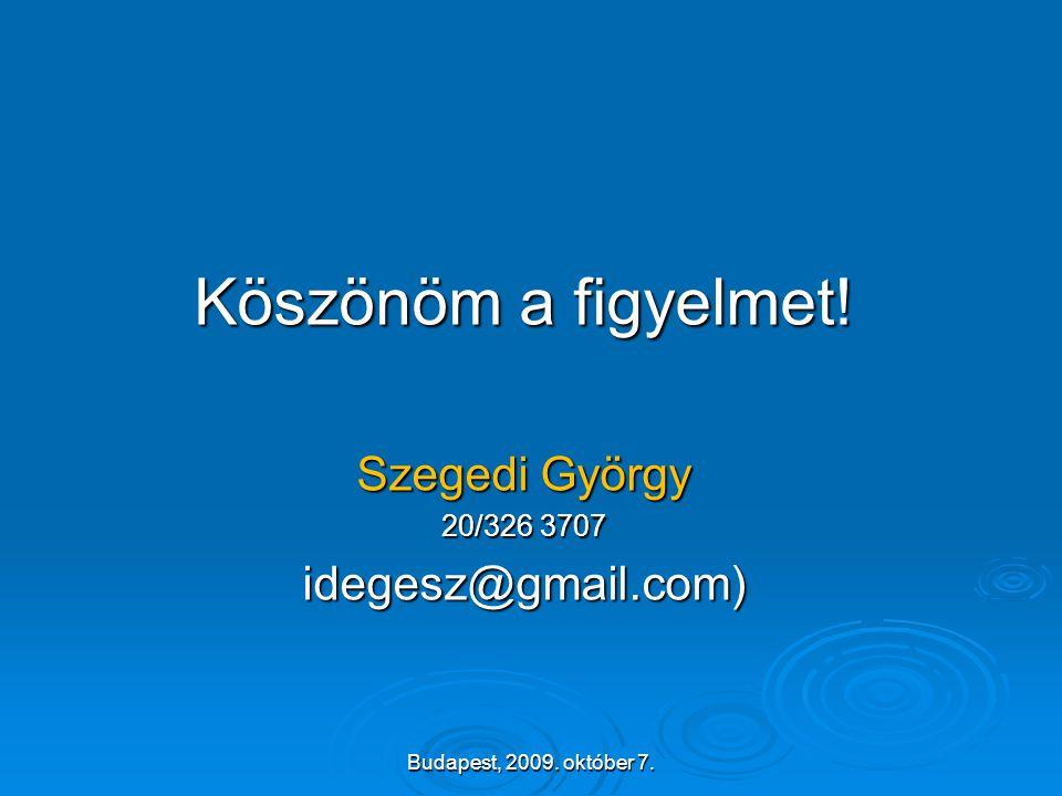 Köszönöm a figyelmet! Szegedi György idegesz@gmail.com) 20/326 3707