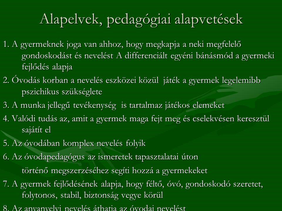 Alapelvek, pedagógiai alapvetések