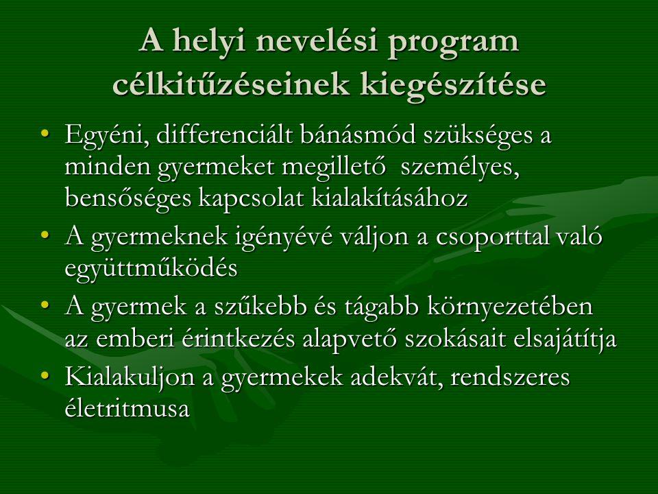 A helyi nevelési program célkitűzéseinek kiegészítése