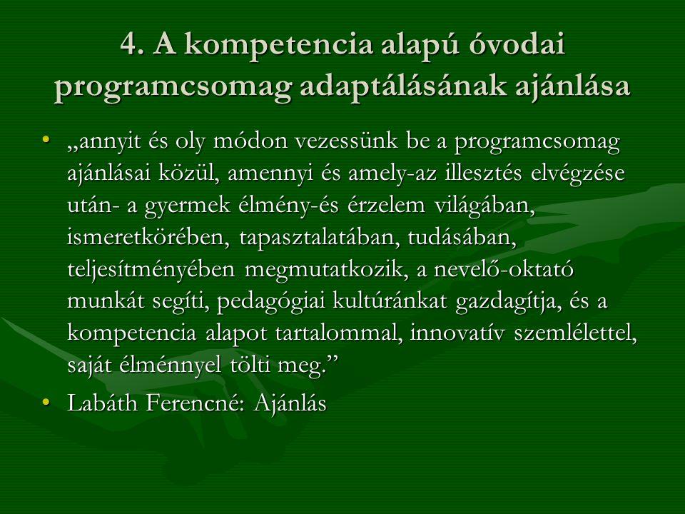 4. A kompetencia alapú óvodai programcsomag adaptálásának ajánlása