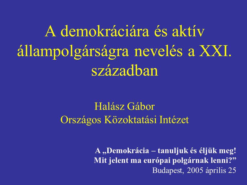 A demokráciára és aktív állampolgárságra nevelés a XXI
