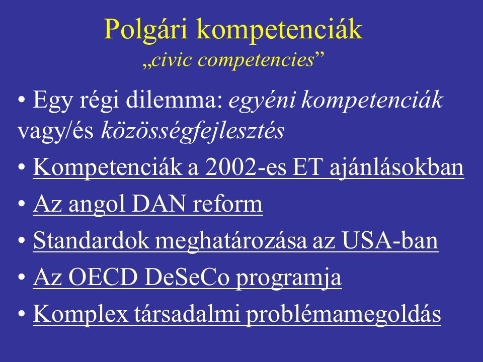 "Polgári kompetenciák ""civic competencies"