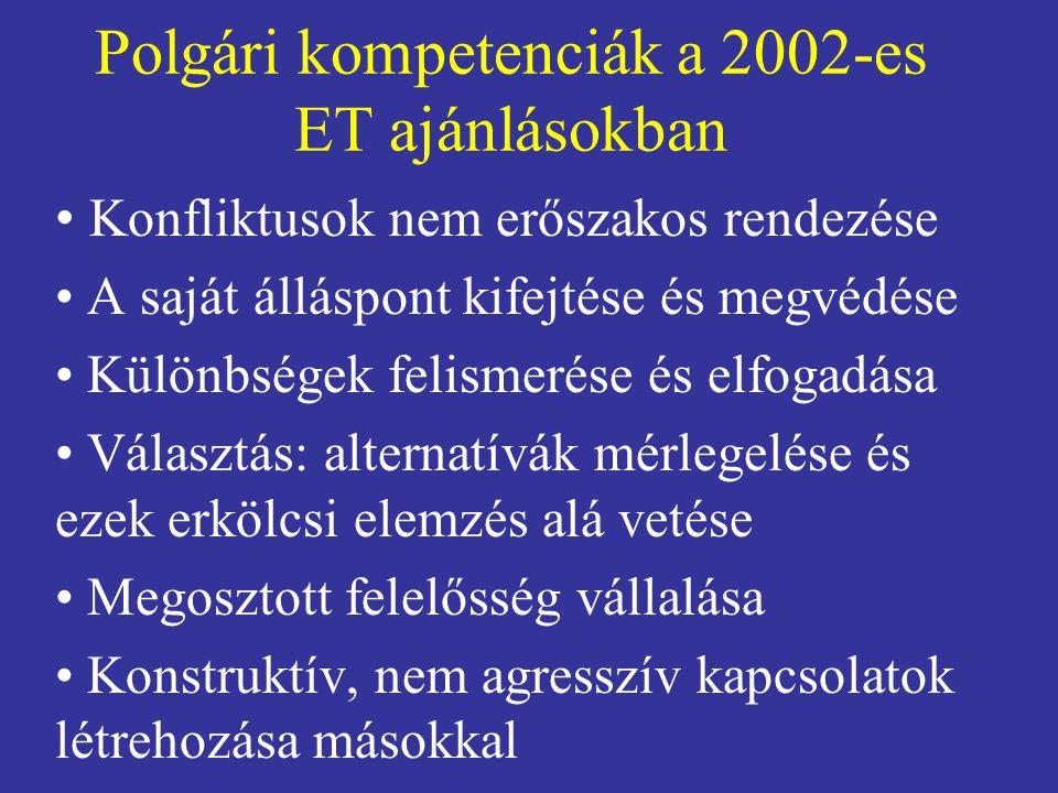 Polgári kompetenciák a 2002-es ET ajánlásokban