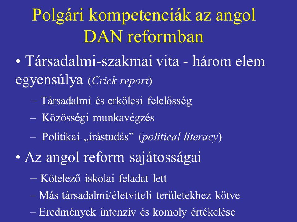 Polgári kompetenciák az angol DAN reformban
