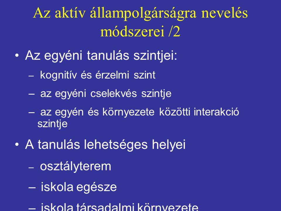 Az aktív állampolgárságra nevelés módszerei /2