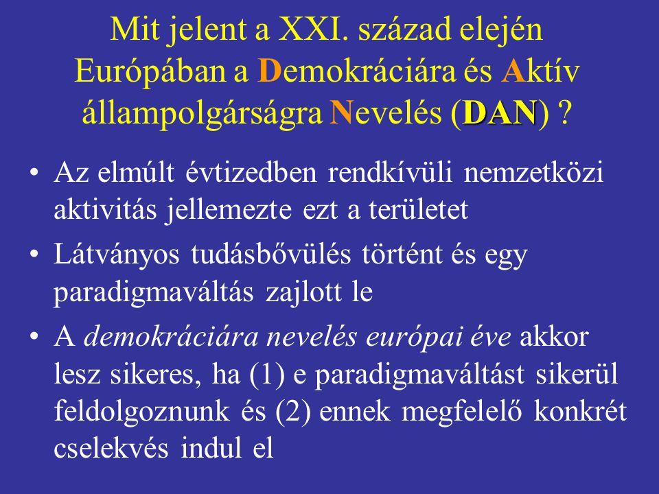 Mit jelent a XXI. század elején Európában a Demokráciára és Aktív állampolgárságra Nevelés (DAN)