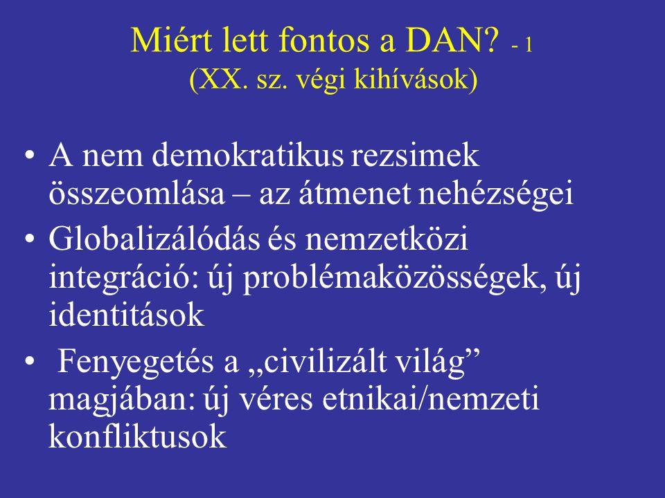 Miért lett fontos a DAN - 1 (XX. sz. végi kihívások)