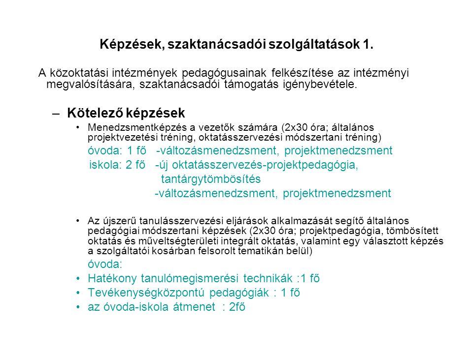 Képzések, szaktanácsadói szolgáltatások 1.