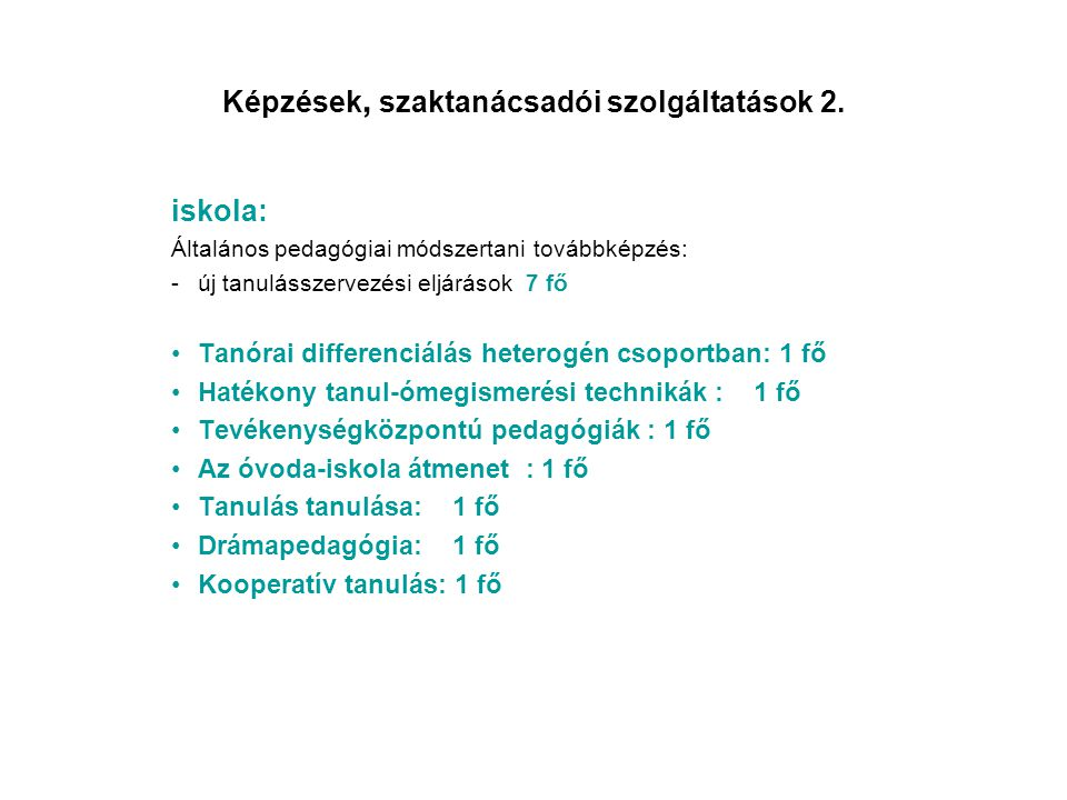 Képzések, szaktanácsadói szolgáltatások 2.