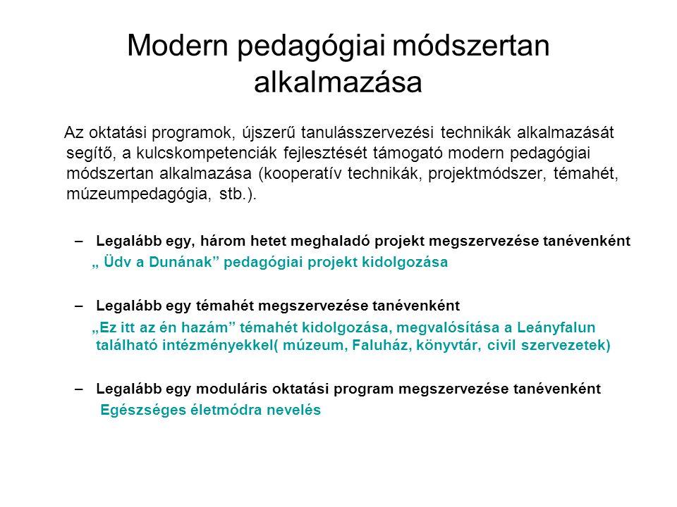 Modern pedagógiai módszertan alkalmazása