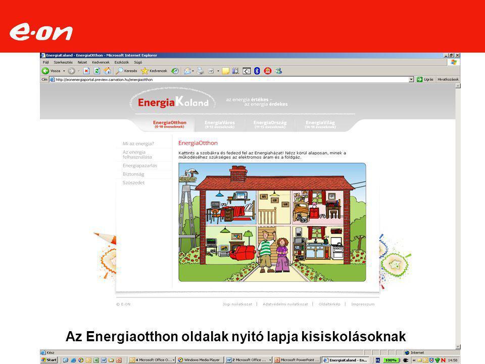 Az Energiaotthon oldalak nyitó lapja kisiskolásoknak