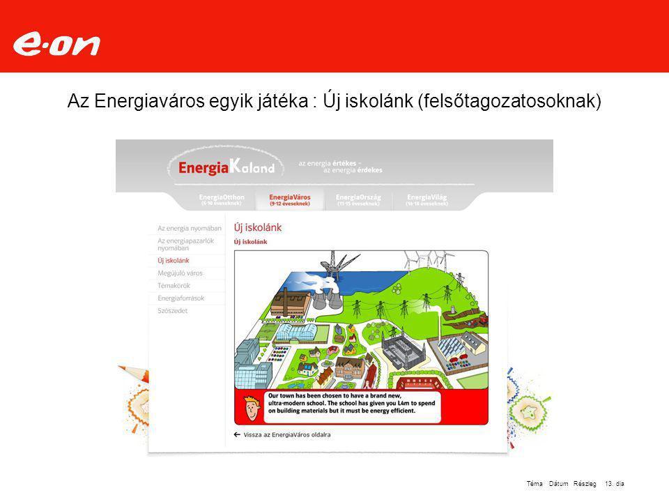Az Energiaváros egyik játéka : Új iskolánk (felsőtagozatosoknak)