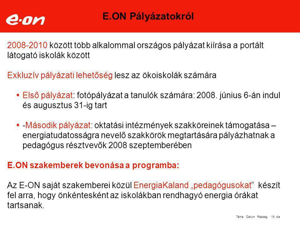 E.ON Pályázatokról 2008-2010 között több alkalommal országos pályázat kiírása a portált látogató iskolák között.