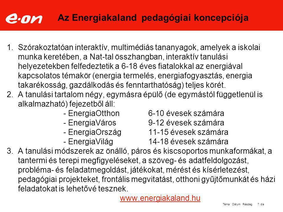 Az Energiakaland pedagógiai koncepciója