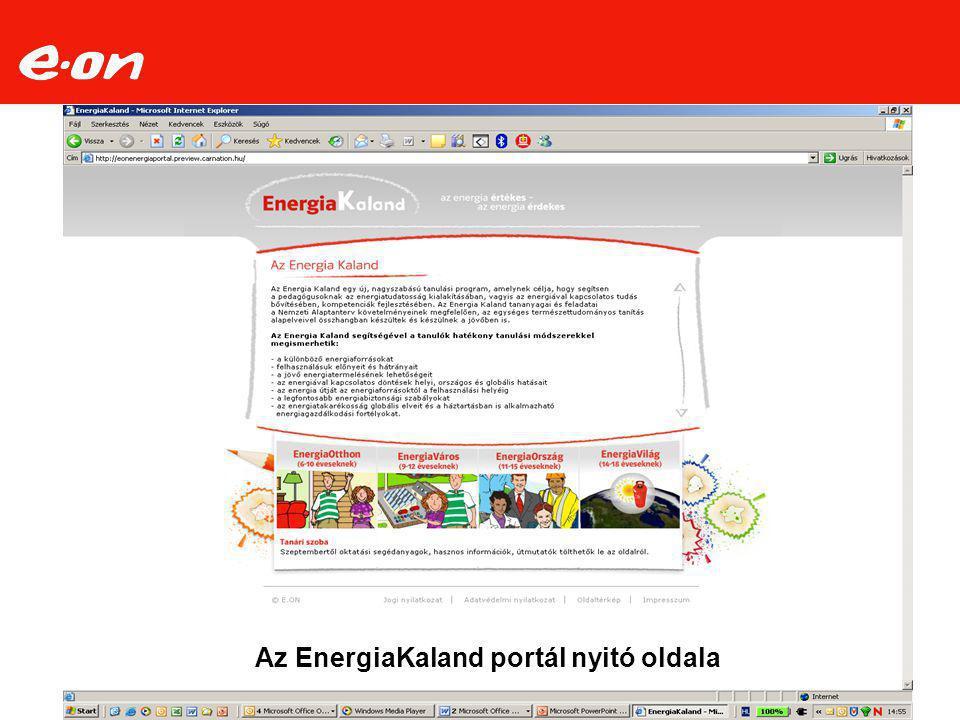 Az EnergiaKaland portál nyitó oldala