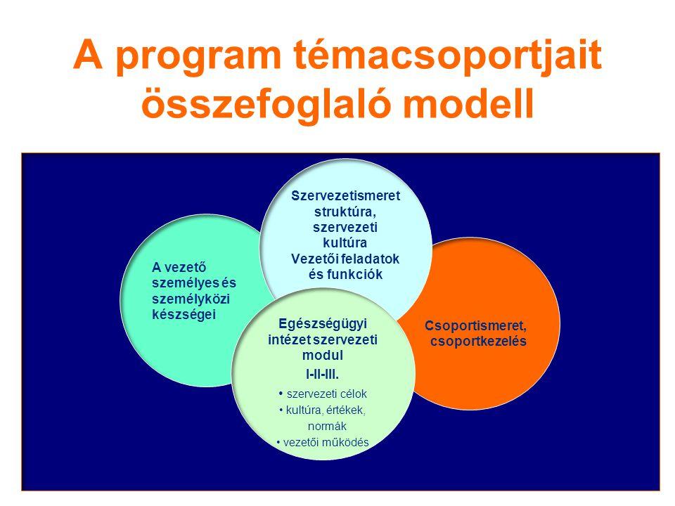 A program témacsoportjait összefoglaló modell