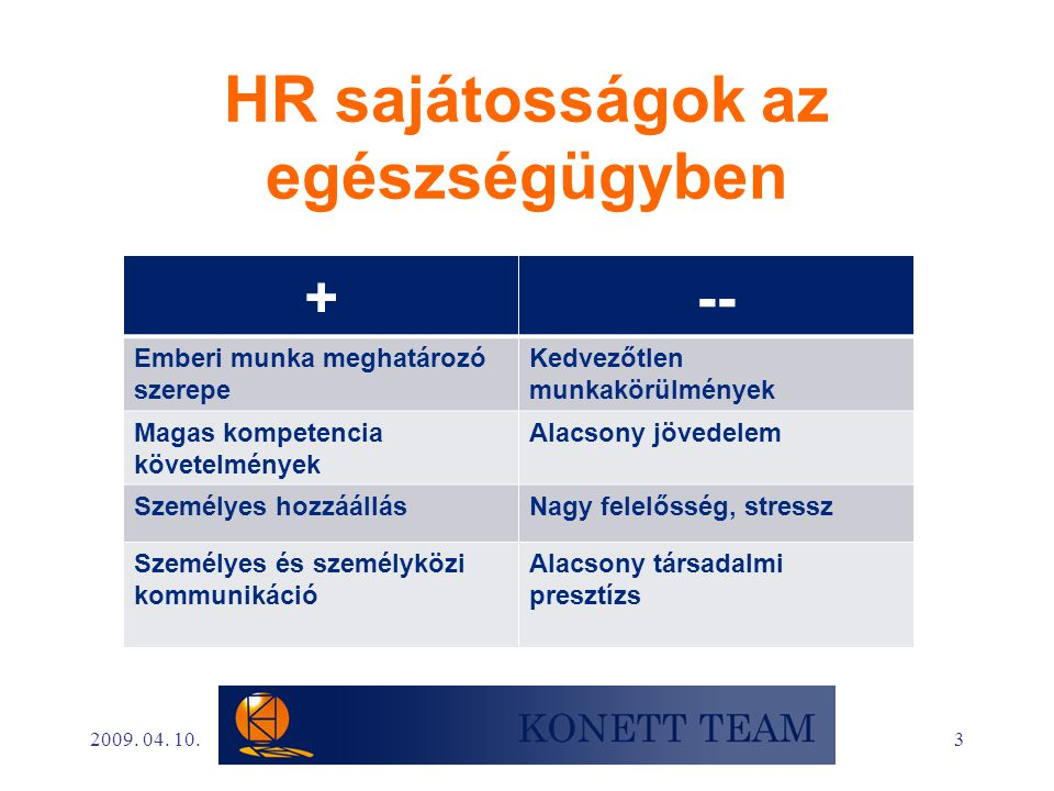 HR sajátosságok az egészségügyben