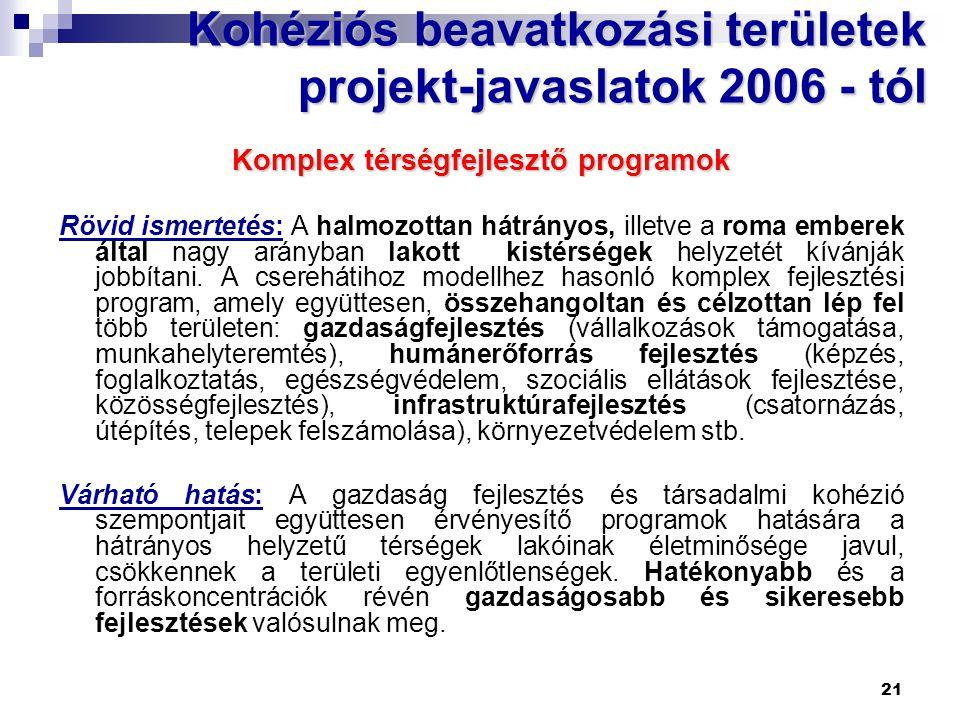 Kohéziós beavatkozási területek projekt-javaslatok 2006 - tól