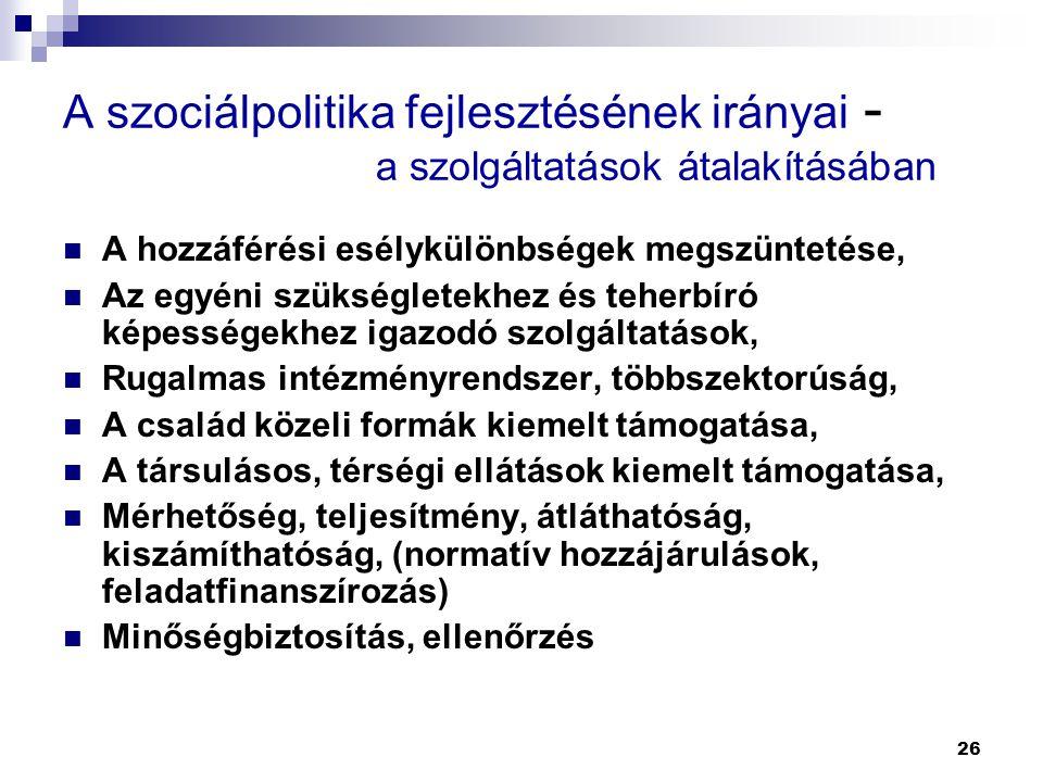 A szociálpolitika fejlesztésének irányai -