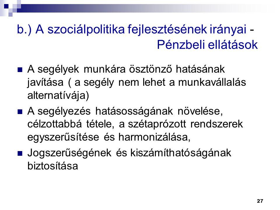 b.) A szociálpolitika fejlesztésének irányai - Pénzbeli ellátások