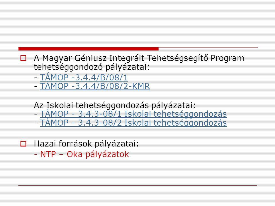 A Magyar Géniusz Integrált Tehetségsegítő Program tehetséggondozó pályázatai: