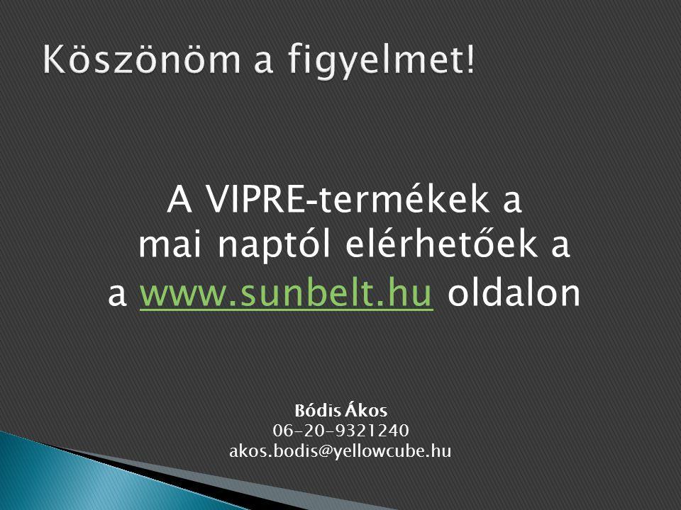 A VIPRE-termékek a mai naptól elérhetőek a a www.sunbelt.hu oldalon