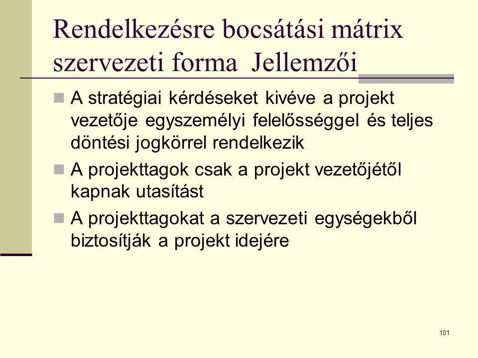 Rendelkezésre bocsátási mátrix szervezeti forma Jellemzői