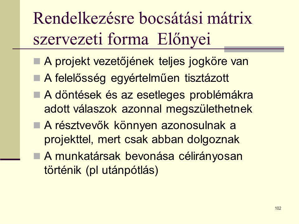 Rendelkezésre bocsátási mátrix szervezeti forma Előnyei