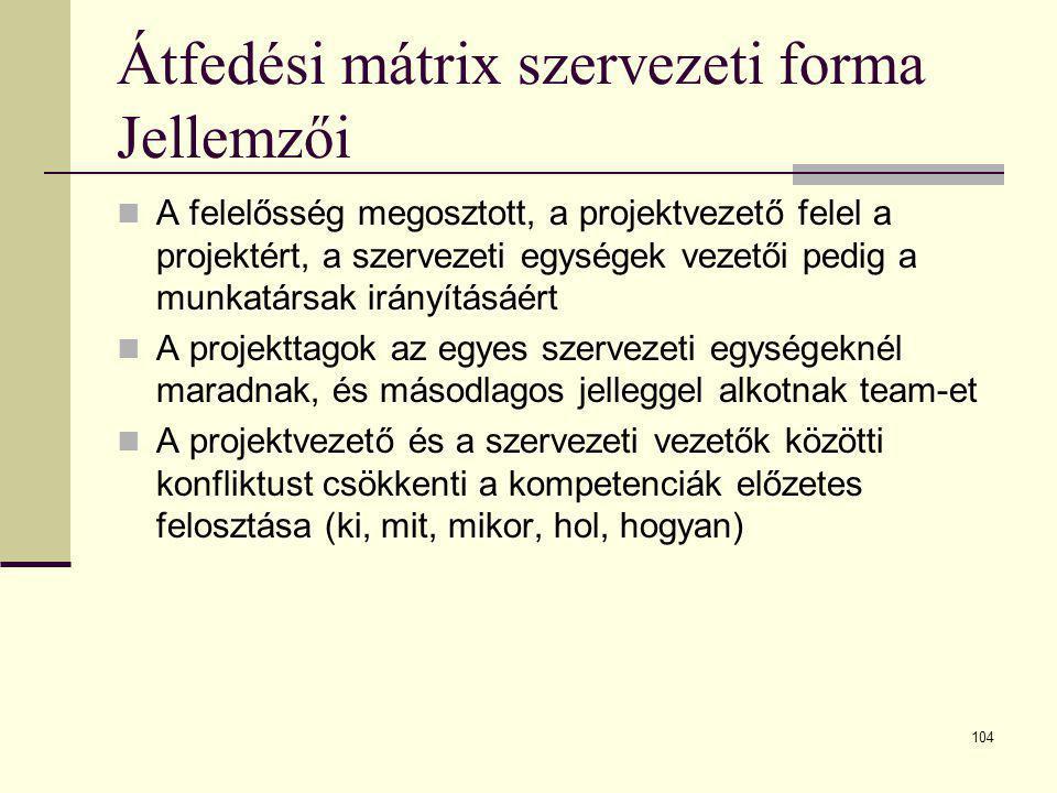 Átfedési mátrix szervezeti forma Jellemzői
