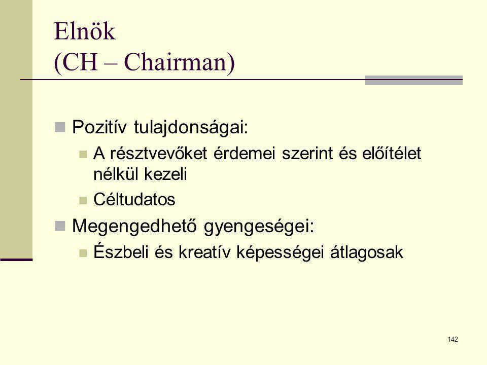 Elnök (CH – Chairman) Pozitív tulajdonságai: Megengedhető gyengeségei: