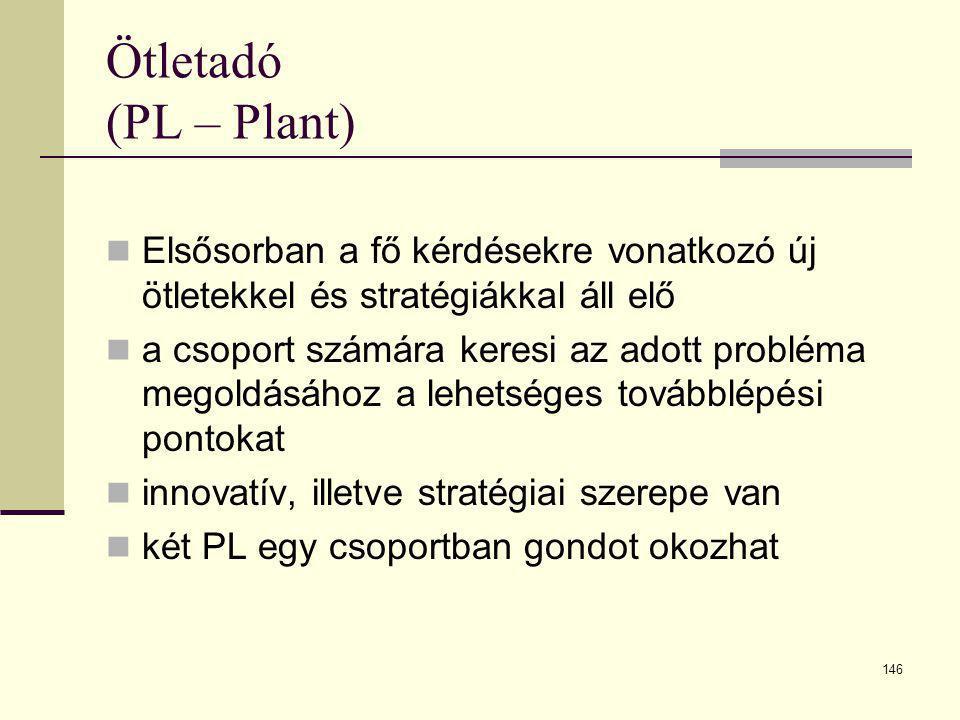 Ötletadó (PL – Plant) Elsősorban a fő kérdésekre vonatkozó új ötletekkel és stratégiákkal áll elő.