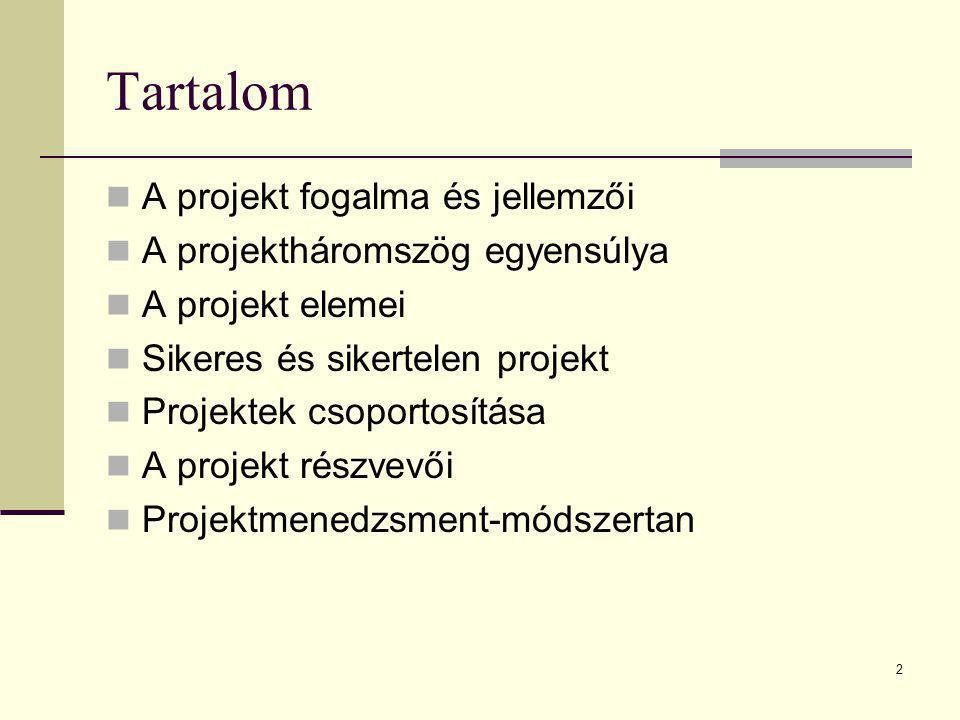 Tartalom A projekt fogalma és jellemzői A projektháromszög egyensúlya