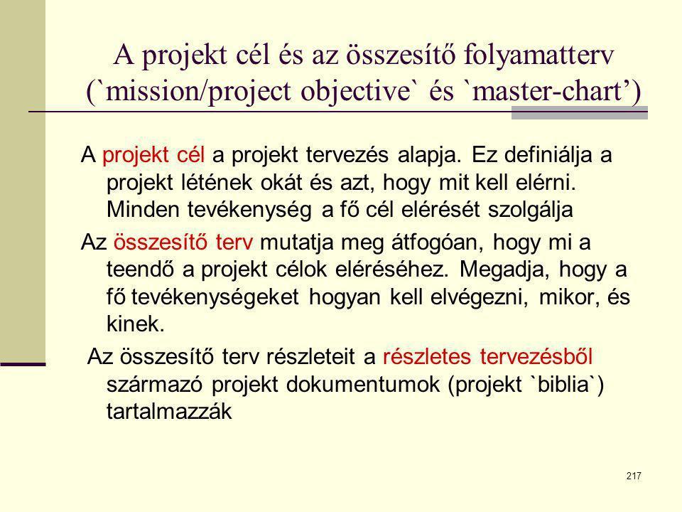 A projekt cél és az összesítő folyamatterv (`mission/project objective` és `master-chart')