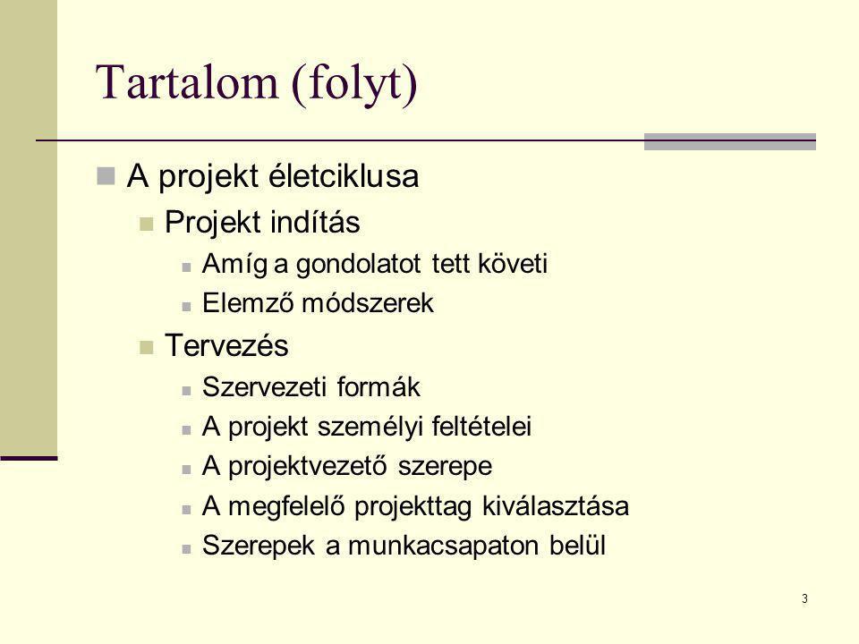 Tartalom (folyt) A projekt életciklusa Projekt indítás Tervezés
