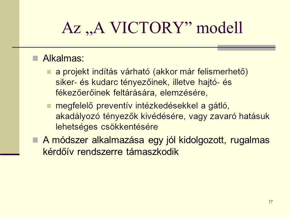 """Az """"A VICTORY modell Alkalmas:"""