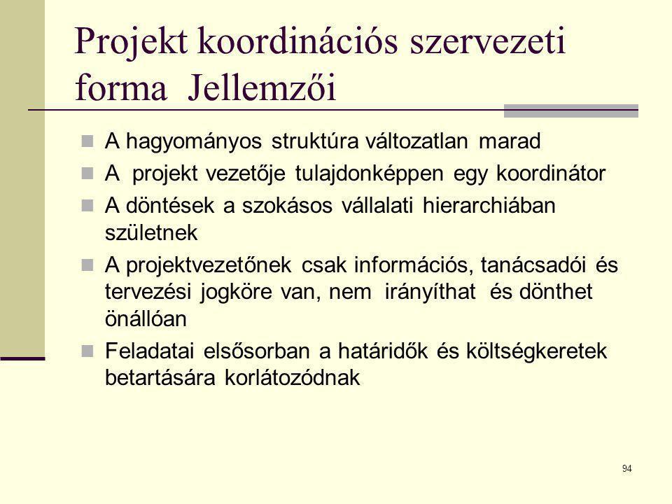 Projekt koordinációs szervezeti forma Jellemzői