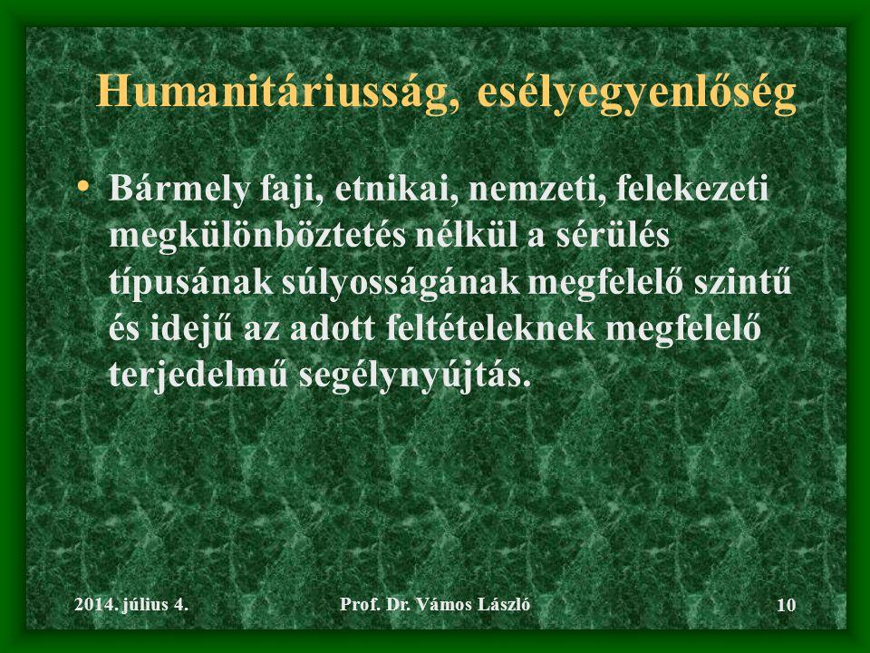 Humanitáriusság, esélyegyenlőség