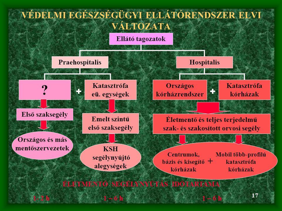 VÉDELMI EGÉSZSÉGÜGYI ELLÁTÓRENDSZER ELVI VÁLTOZATA